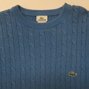 Lacoste Mens Sz 6 XL Blue Crew Cableknit Sweater